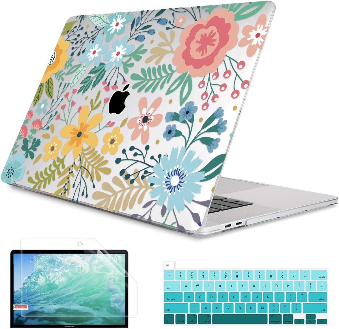 """May Chen Newest MacBook Pro 13 inch Case 2020 Release Models: A2289 A2251, Crystal Print Hard Shell Case Cover for Apple Mac Pro 13"""" with Touch Bar and Retina Display, Colorful Flowers"""