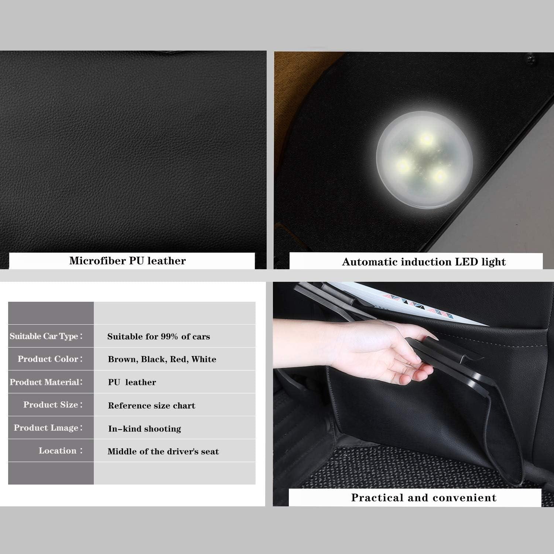 Ergocar Auto Mülleimer Auslaufsicher Wasserdicht Mikrofaser Pu Leder Auto Organizer Abfall Tasche Mit Led Licht Für Unterwegs Auto Zubehör Organizer Für Auto Suv Truck Rot Auto