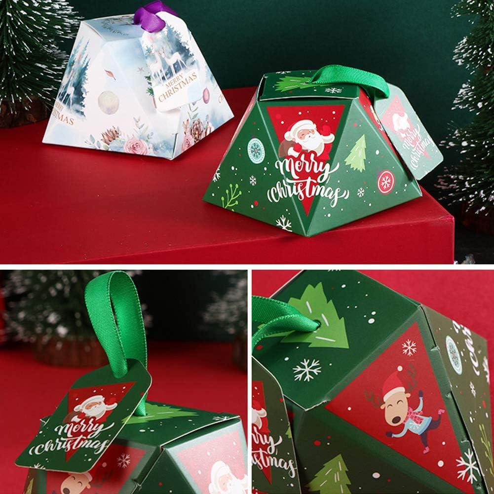 24 Pcs Bo/îtes /à bonbons de No/ël Bo/îtes-cadeaux avec ruban et /étiquettes Bo/îtes en papier de No/ël Bo/îtes /à friandises d/écoratives 4 mod/èles diff/érents Petites bo/îtes /à