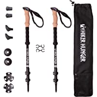 Hiker Hunger Aluminum 7075 Trekking Poles Ultra Lightweight, Adjustable with Quick Flip Lock Cork Grip & Padded Straps Tungsten Tips for Hiking, Backpacking & Walking USA Based Brand