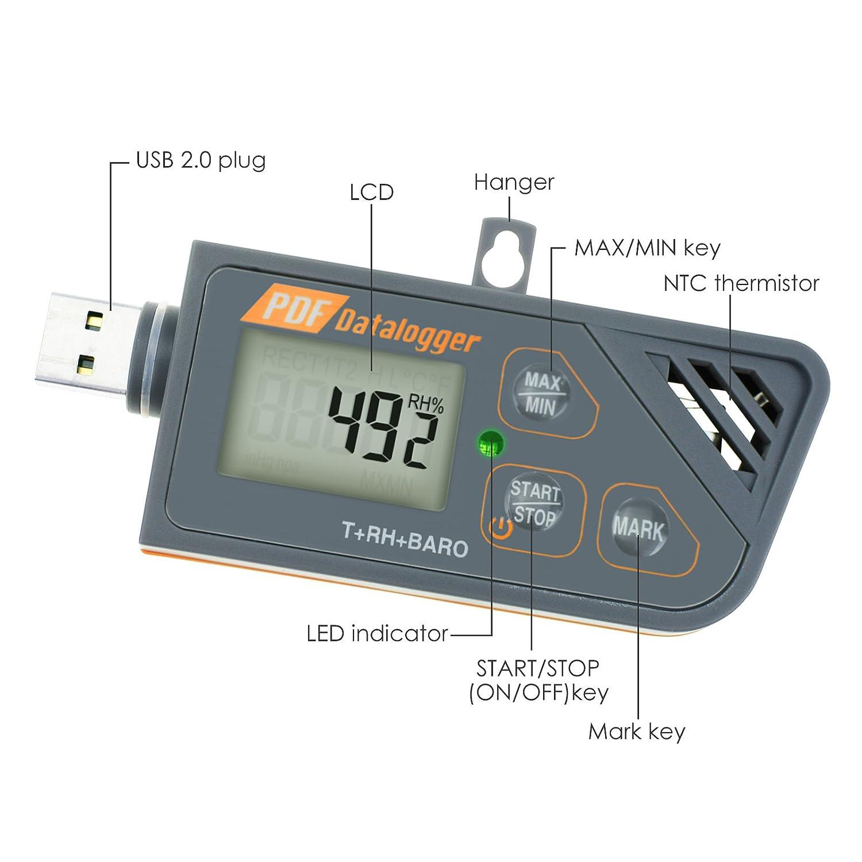 Digital impermeable USB Data Logger humedad Temperatura y presión Barómetro Data Logger Gauge, generar PDF y Excel informe indicador LED: Amazon.es: ...