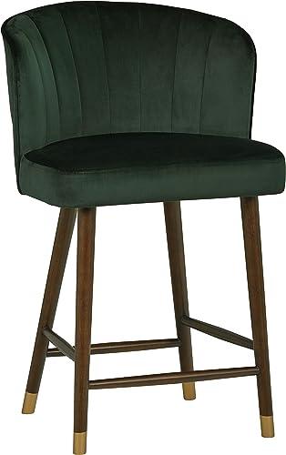 Amazon Brand Rivet Modern High-Back Barstool, 41 H, Dark Green