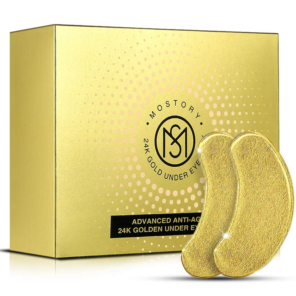 24K Gold Under Eye Mask - Eye Patches Treatment for Puffy Eyes Pure Collagen Golden Anti-aging Dark Circles Eye Bags Wrinkles Pads Masks Cooling Eye Spa Hydrogel Undereye patch - 20 Pairs (GOLD)