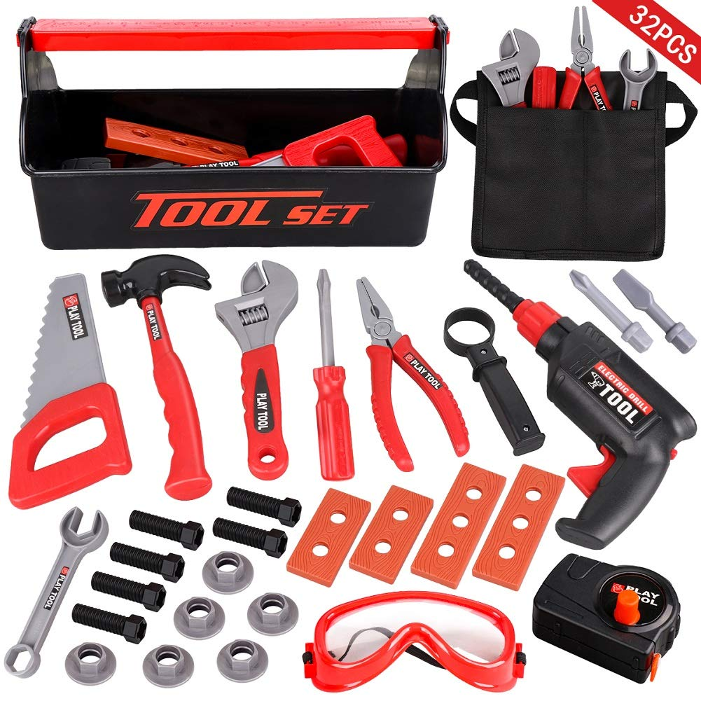 LOYO Kids Tool Set - 32PCS Pretend Play Construction Toy with Tool Box Kids Toolbelt Electronic Toy Drill Construction Accessories Gift for Toddlers Boys Ages 2, 3 , 4, 5, 6, 7 Years Old by LOYO