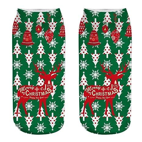 Scrox 1 Pares Navidad Calcetines para Hombre/Mujer 3D Papá Noel Patrón Socks Unisex Casual
