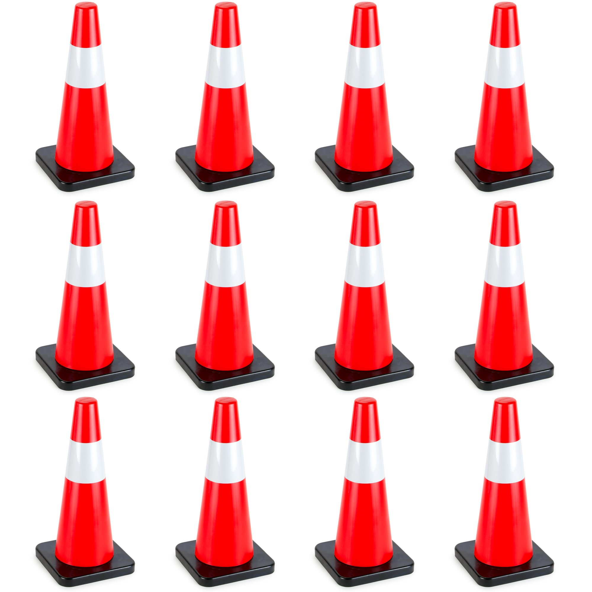 18'' High Hat Cones in Fluorescent Orange with Reflective Sleeve and Black Base for Indoor/Outdoor Traffic Work Area Safety Marker & Agility Sport Training by Bolthead Industrial (12-pack)
