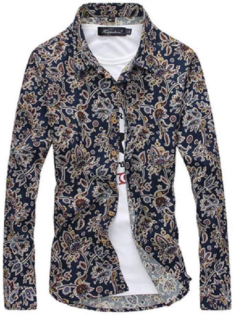 YUNY Mens Single Breasted No-Iron Casual Shirts Stylish Dress Shirt AS5 L