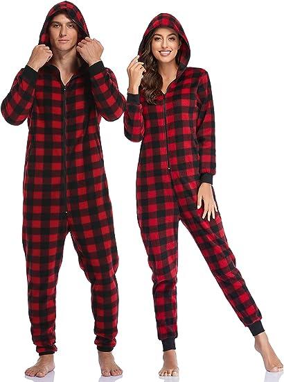 ColorFULLEAF Parejas Pijamas de Navidad Sudadera con capucha ...