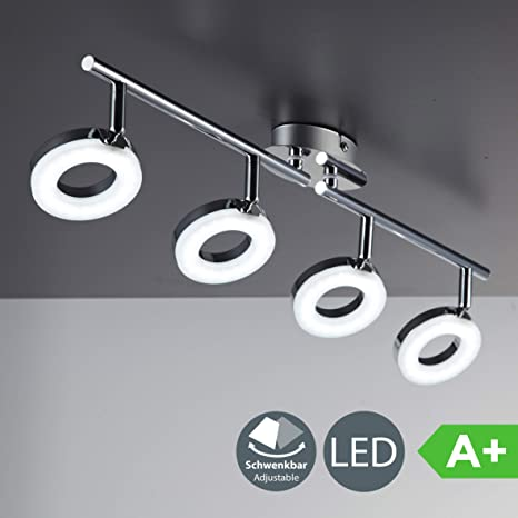 Lámpara de techo LED moderna incl. 4x4,5W bombillas I Orientables y giratorios I Color Cromado I 230V IP20 I Plástico y metal I Longitud: 685mm