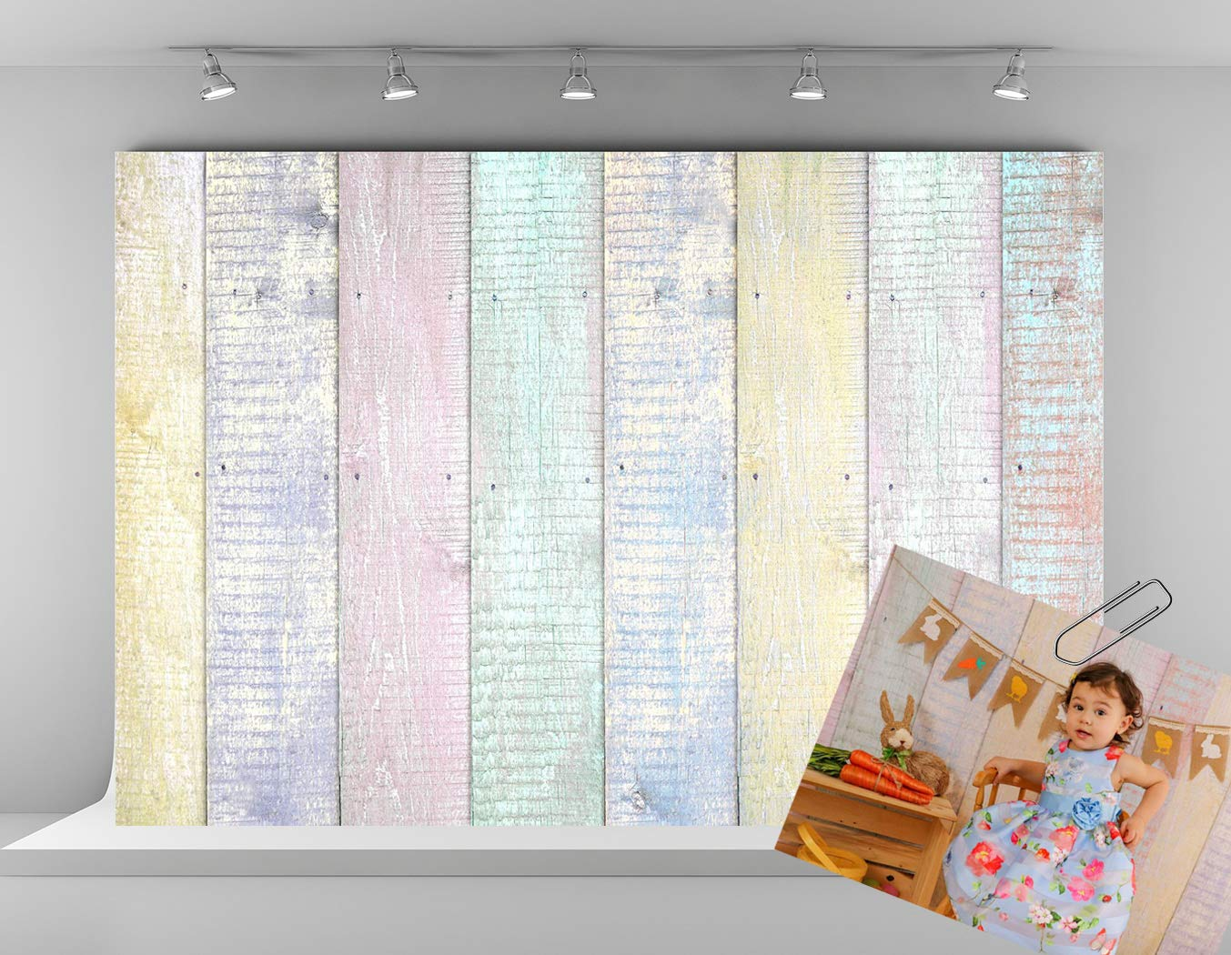 Kate 7x5ft Wood Fence Backdrops for Photography Colorful Wooden Texture Background Easter Photo Backdrop