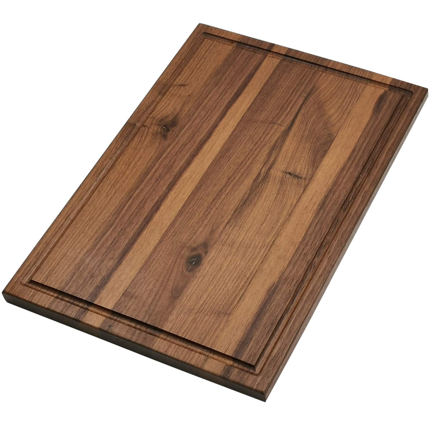Cutting Board - Cutting Boards for kitchen with Juice Groove American Walnut Hardwood Chopping Board and Carving Countertop Block 16x12 for Meats Bread Fruits