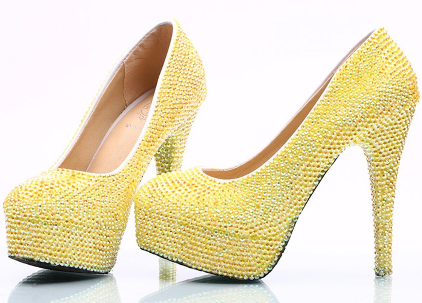 c3b13b4f61e Amazon.com   YCMDM Women Big Size Wedding Shoes Diamond Bride Shoes Lemon  Yellow Drill Stiletto Heel High Shallow Mouth Shoes Nightclub