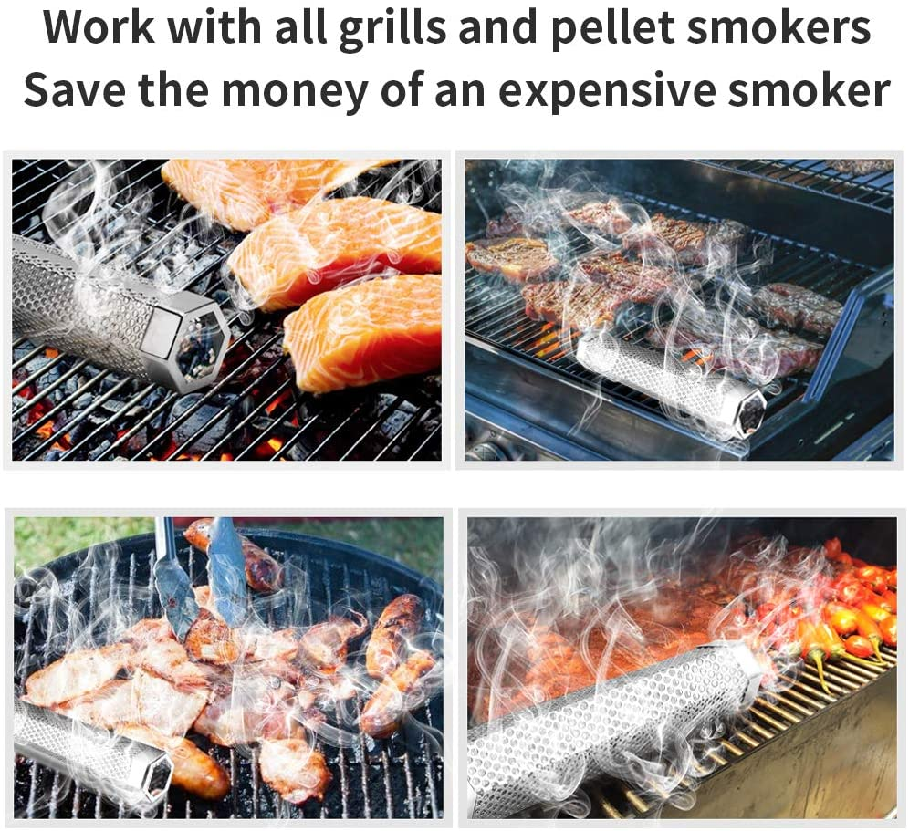Pellet Smoker Tube Portable Barbecue Smoke Generator Works with Electric Gas Charcoal Grill Smokers Hexagon Tube+2Hooks 12 Stainless Steel BBQ Wood Pellet Tube Smoker for Cold//Hot Smoking