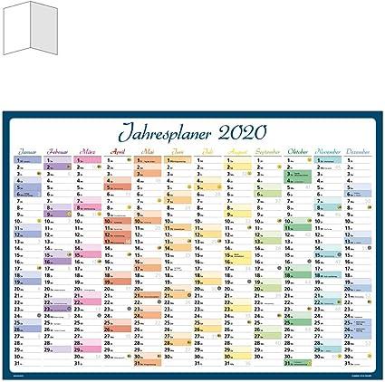Calendario 2020, póster, multicolor, DIN A1, planificador anual ...