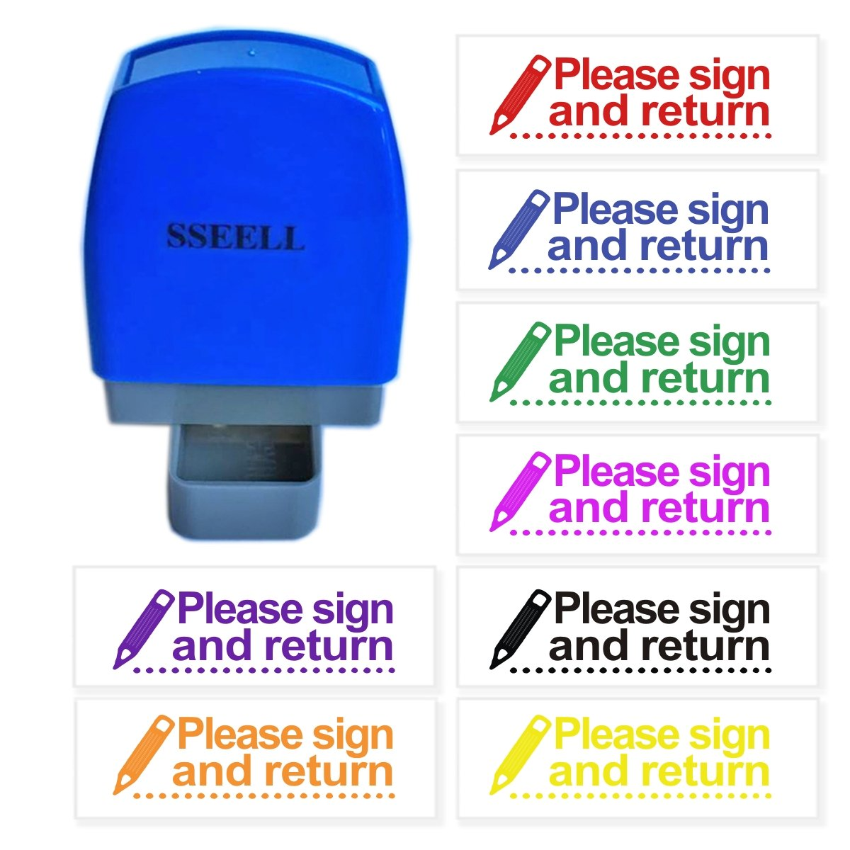 SSEELL Please Sign and Return Reward Stamp Self Inking for School Student Teacher Homework Feedback Stamp Rubber Flash Stamp Self-Inking Pre-Inked RE-inkable School Stationary - Red Ink Color