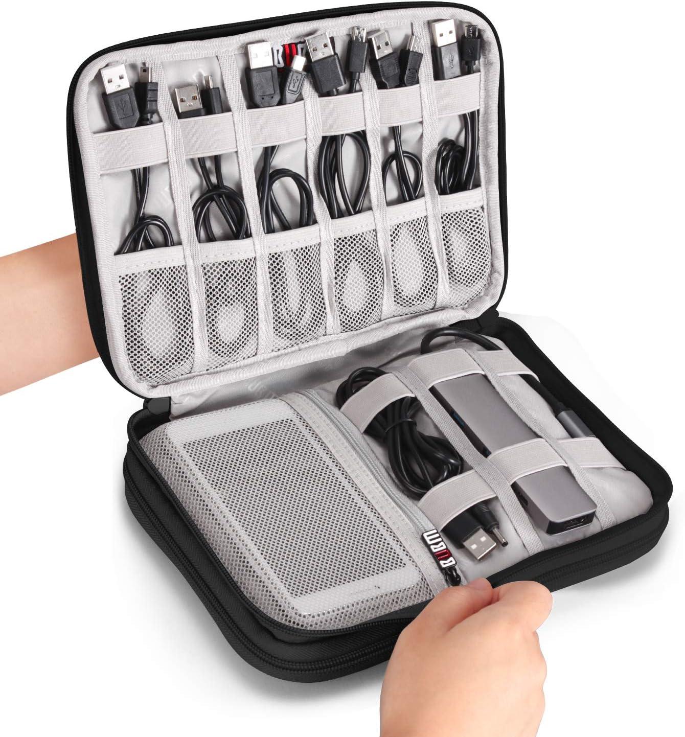 ODLICNO Electrónico Organizador de Cable Bolsa,Universal de Oficina/Viaje Kit de Accesorios Electrónico Bolsa Adecuado para Disco Duro/Tarjeta de Memoria/Cable de Alimentación-Negro