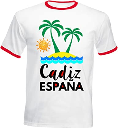 teesquare1st Cadiz Spain Tshirt de Hombre con Bordes Rojos: Amazon.es: Ropa y accesorios