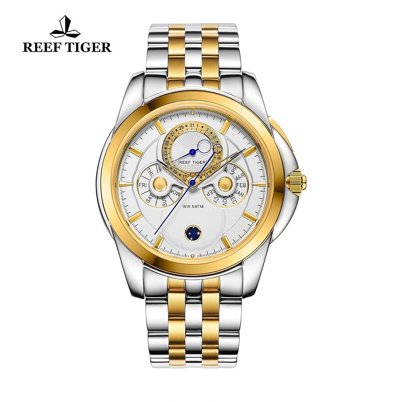 Reef Tiger Casual Herren Armbanduhr mit Untergang Datum Kalender gelb gold Stahl weiß Zifferblatt Uhren rga830