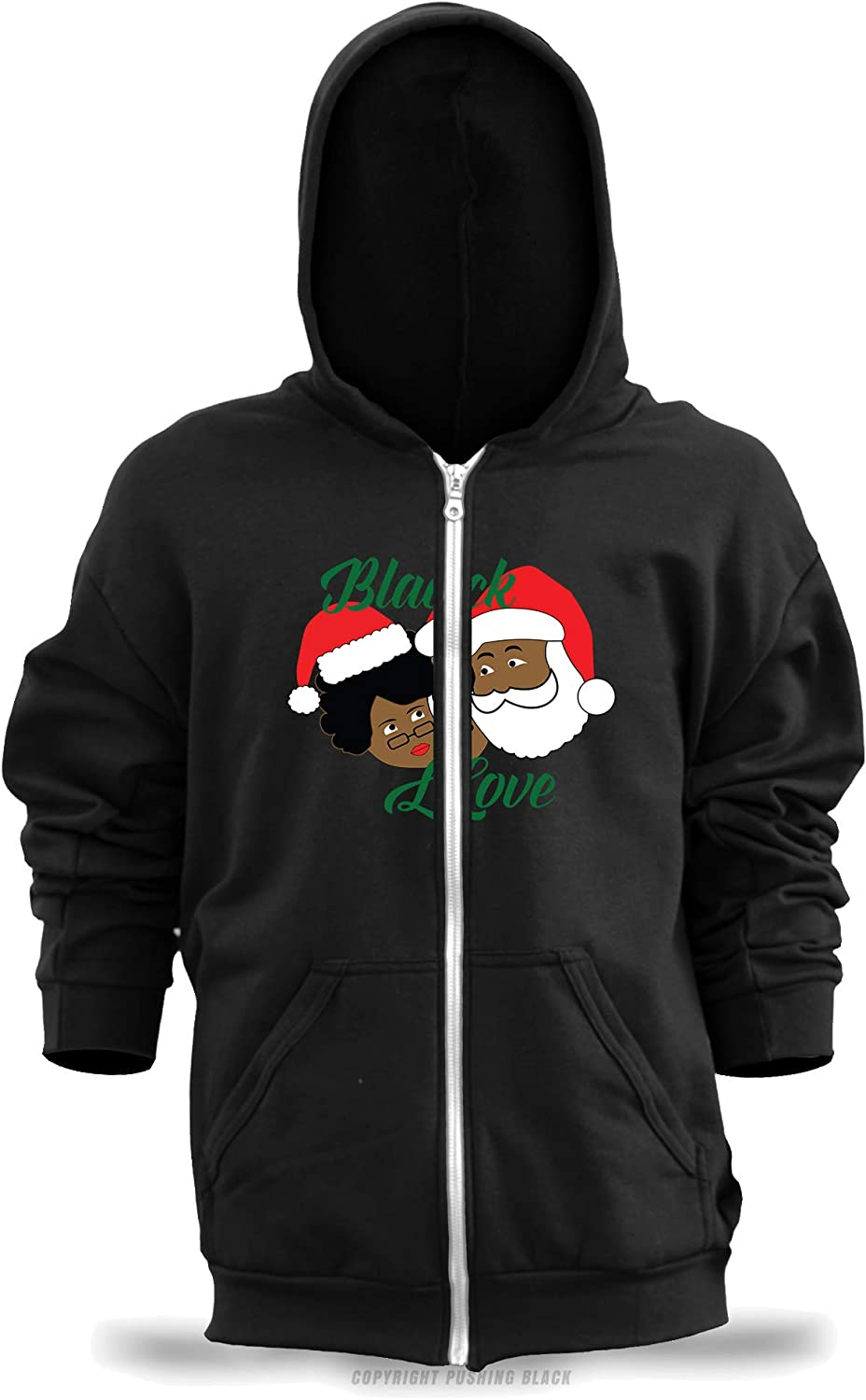 Black Love Mr and Mrs Clause Unisex Zipper Hoodie