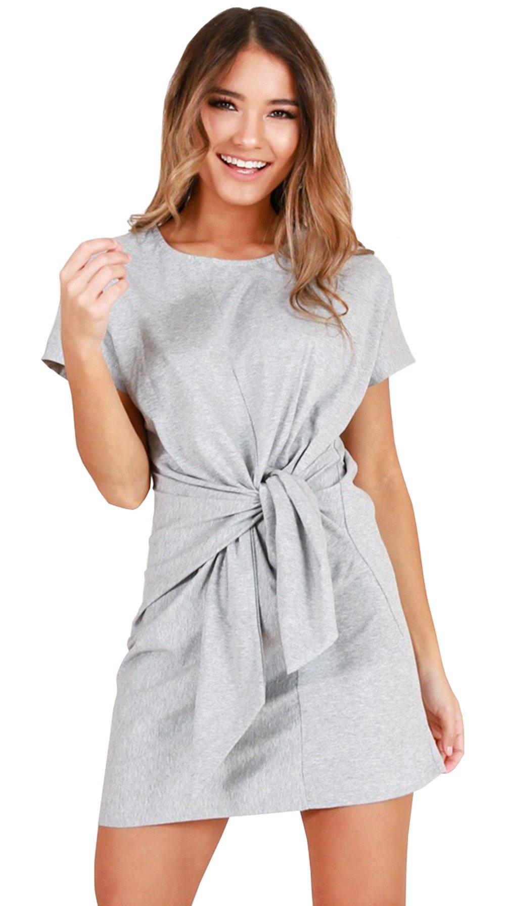Longwu Women's Bandage Elegant Short Sleeve Wear to Work Casual Pencil Dress Grey-L