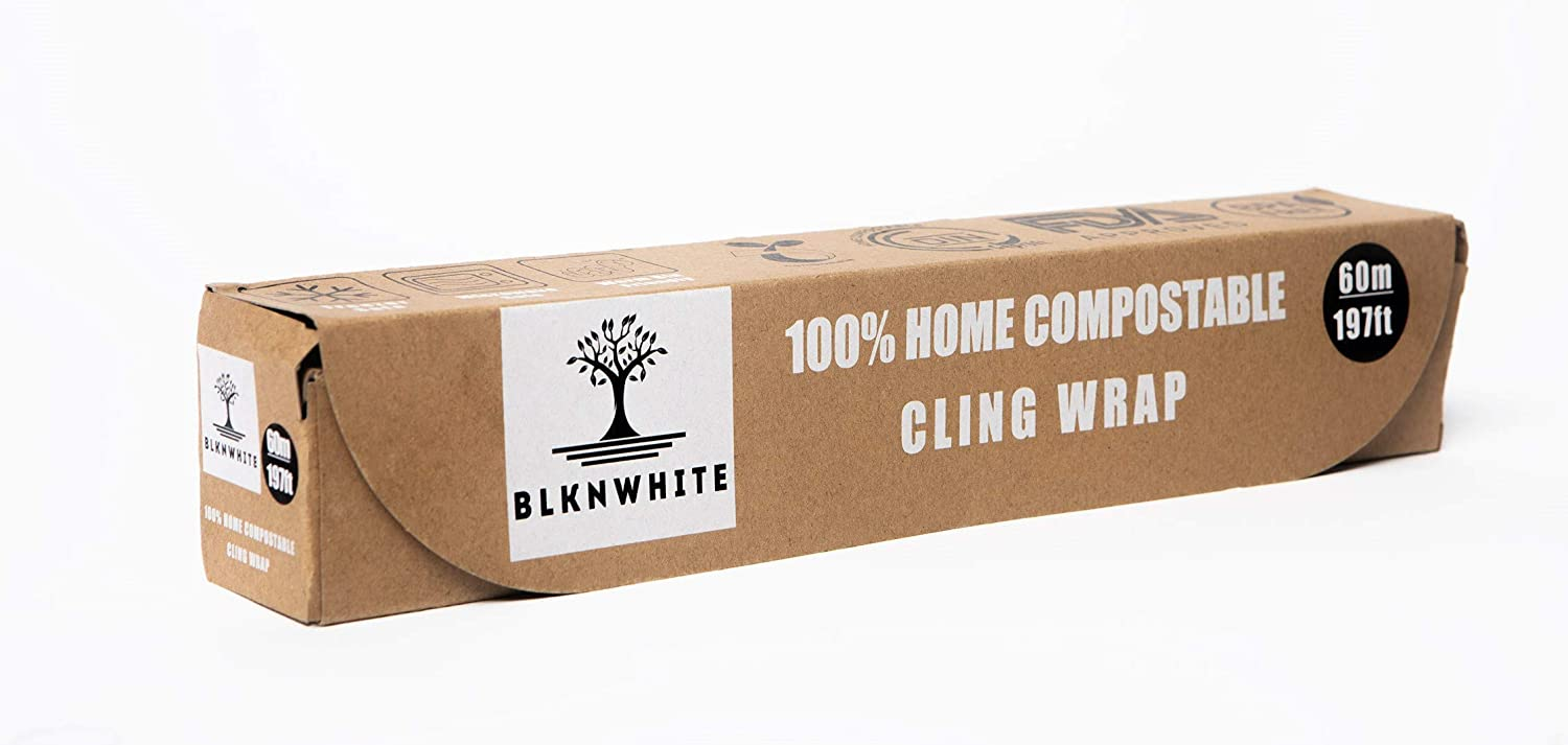BlknWhite Certified Compostable Cling Wrap with Slide Cutter - 12
