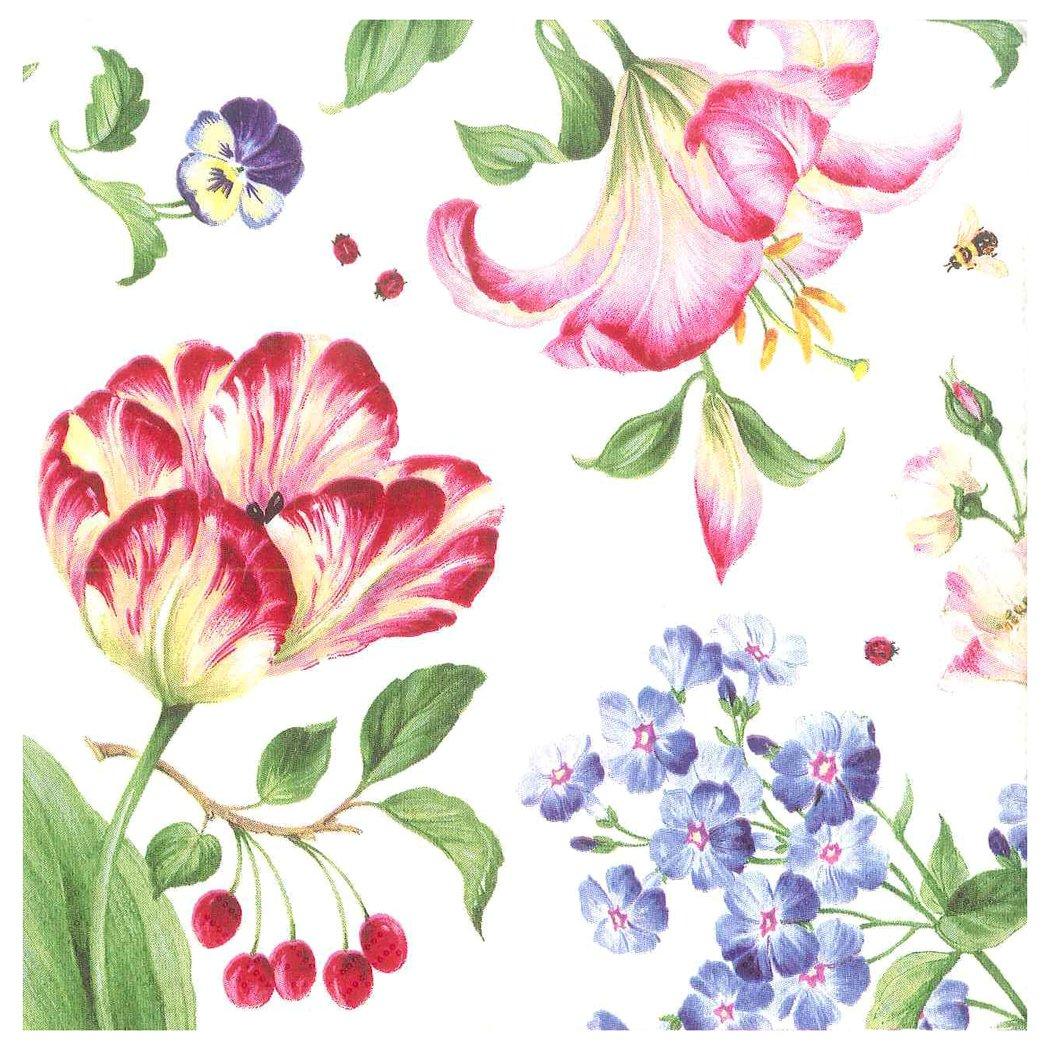 Entertaining with Caspari Cutting Garden Luncheon Napkins (20 Pack), Pink