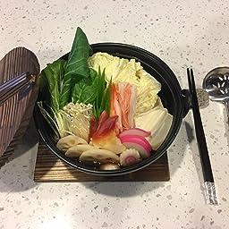 Amazon Com Fuji Merchandise Japanese Style Cast Iron Sukiyaki Tetsu Nabe Pot With Wooden Lid And Tray Quality Enamel Coating 28 Fl Oz 6 75 Diameter Kitchen Dining