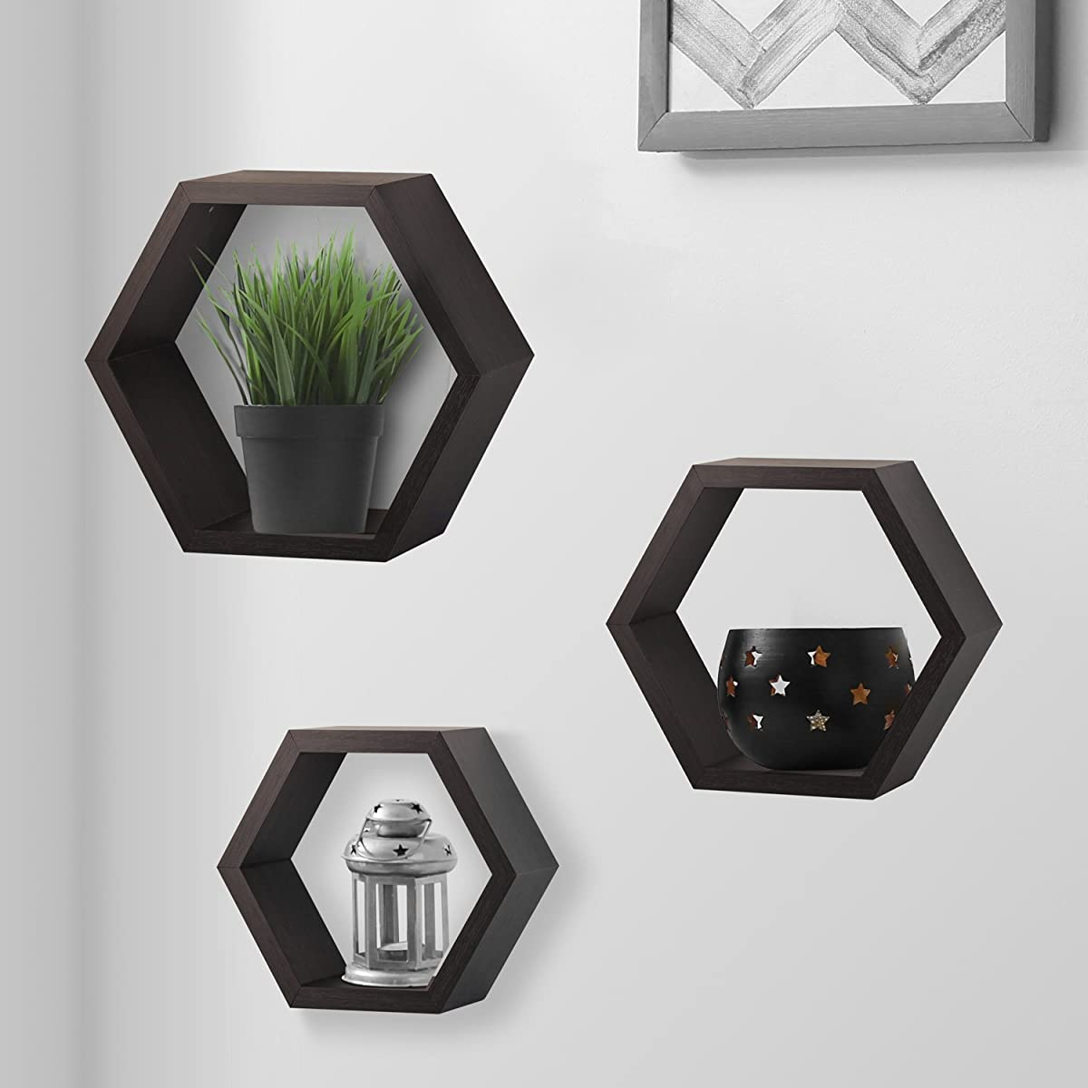 Halter Hexagonal Shaped Floating Shelves (Brown) For Wall/Room Decorative Display - Set of Three - Easy Installation,Screws & Hardware Included - Wood Veneer
