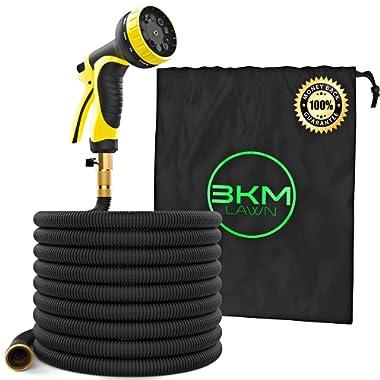 3KM Garden Hose - 100 ft Heavy Duty Expandable - Premium Flexible & Expanding - 9-Pattern High-Pressure Water Spray Nozzle & Bag - No Kink Tangle-Free Lawn & Plant