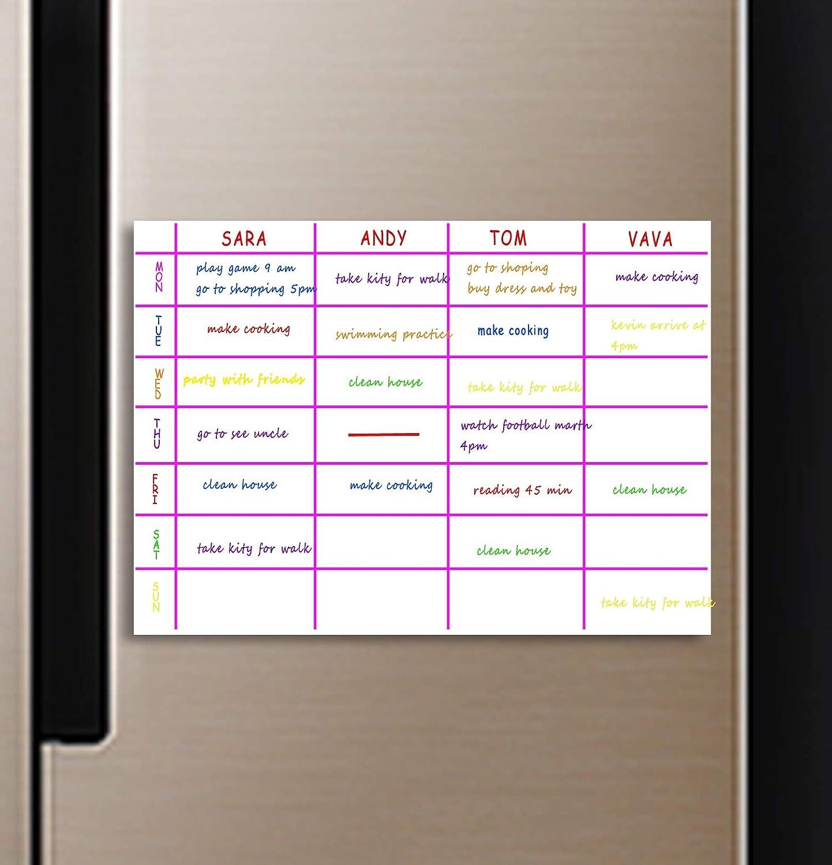 Pizarra blanca de borrado en seco para frigor/ífico Calendario de pizarra blanca A3 de 16 x 12 pulgadas Agenda semanal Pizarra flexible para notas de cocina Pizarra de anuncios para frigor/ífico