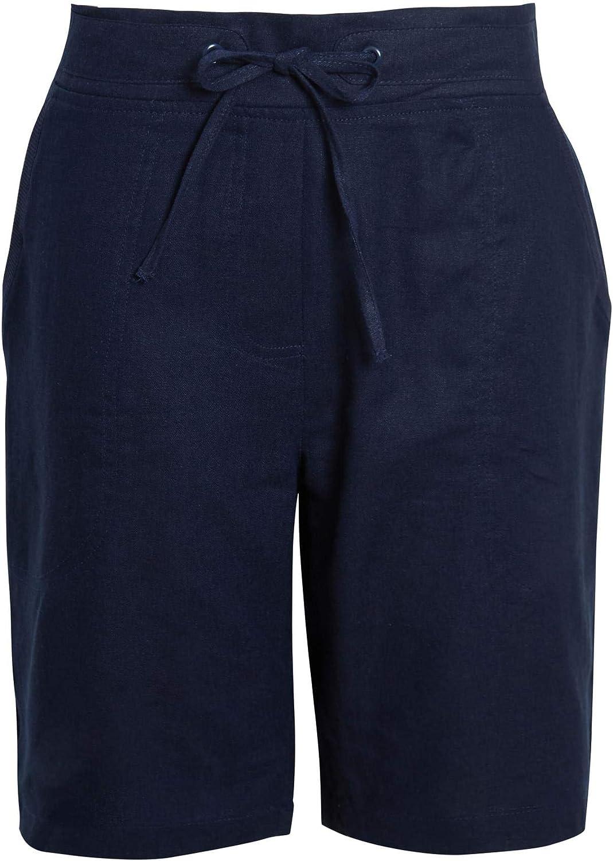 shelikes Womens Ladies Summer Holiday Linen Black White Stone Comfort Shorts Black White Stone Size UK