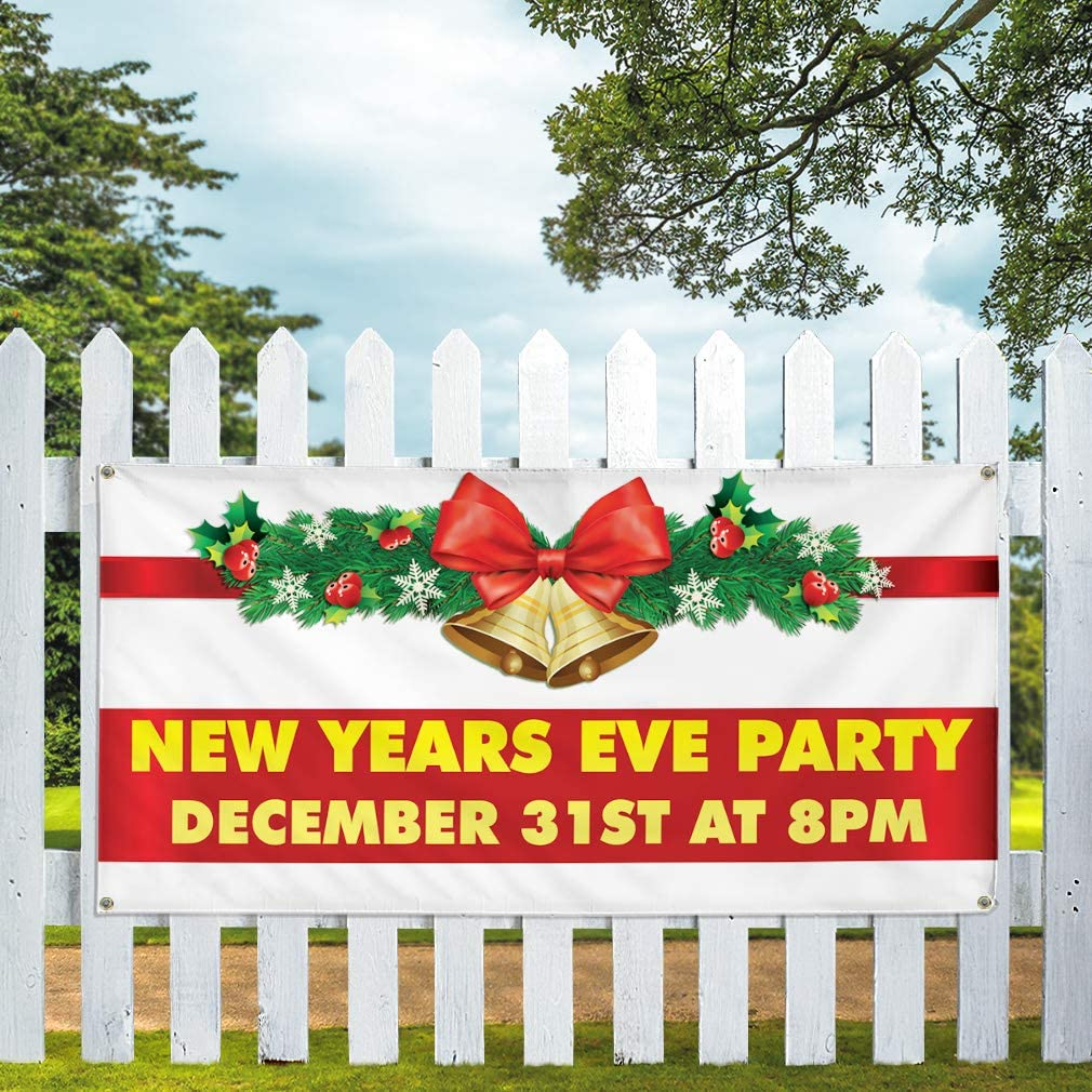 Vinyl Banner Multiple Sizes New Year Eve Party December 31St at 8Pm Lifestyle Outdoor Weatherproof Industrial Yard Signs 10 Grommets 60x144Inches
