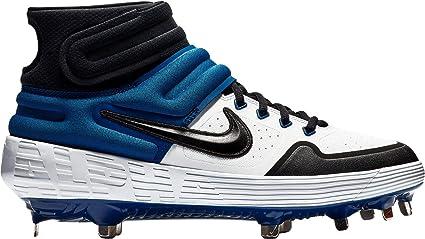 Nike New Mens Alpha Huarache Elite 2 Mid Metal Baseball Cleats White/Blue 8M