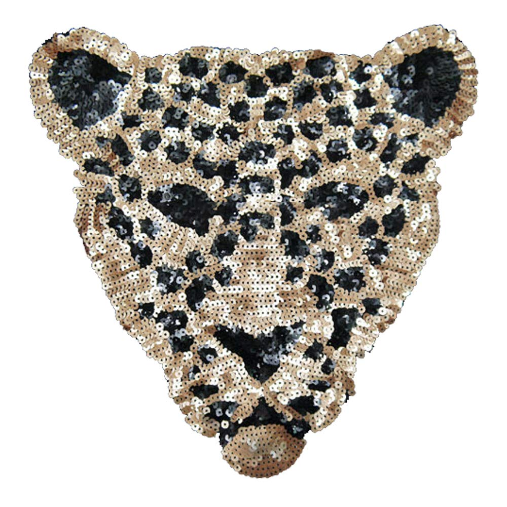 ARTEM Leopard Head Patch 1Pcs Gold Sequins Sew on Patch Rope Embroidered Sequins Pattern Cloth Patch Leopard Applique Crafts Stickers
