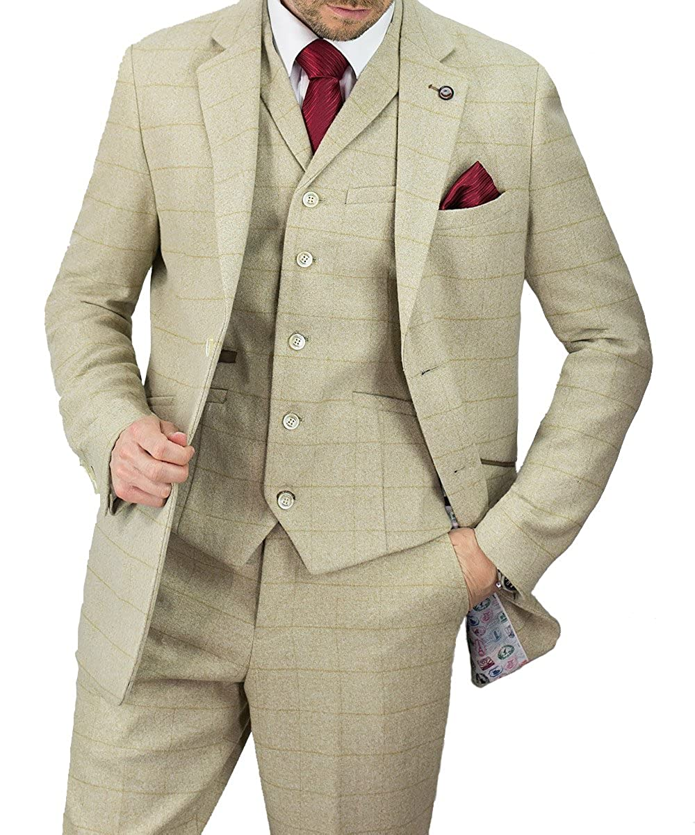 Cavani Men Draco Beige 3 Piece Tweed Suit