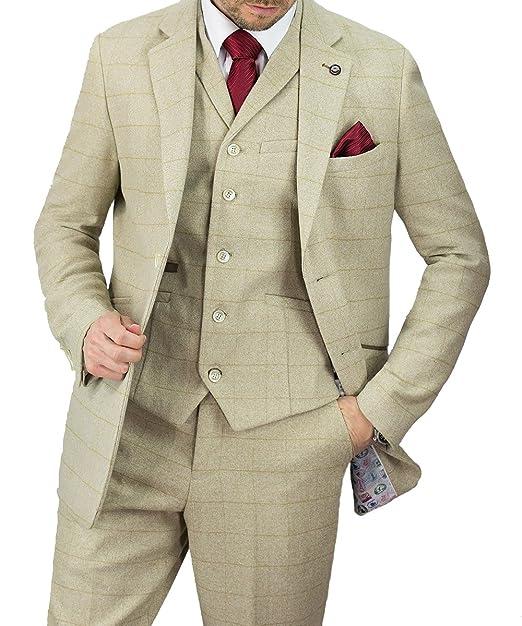 Mens Cavani Beige 3 Piece Suit Vintage Slim Fit Size 50 with 42 Trousers