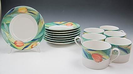 Amazon.com | Lot of 6 Studio Nova FRENCH TULIP L3302 Cup and Saucer ...