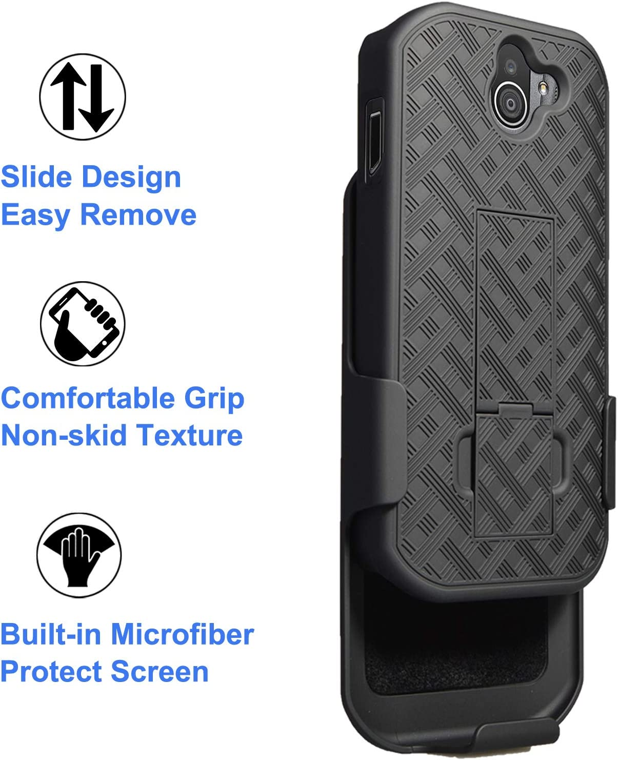 Swivel Belt Clip Ailiber E6910 Holster with Screen Protector Kickstand Holder Shock Proof Pouch Slim Shell Slide Cover for Verizon Kyocera Dura Force Pro2 Kyocera DuraForce Pro 2 Case Black