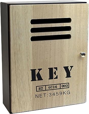 Caja de llaves carcasa de metal llave con puerta de madera ...