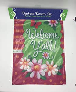 Custom Decor Welcome Y'all Gingham Polka Dot - Spring and Summer - Garden Size, Decorative Double Sided, Licensed and Copyrighted Flag - Printed in The USA Inc. - 12 Inch X 18 Inch Approx. Size