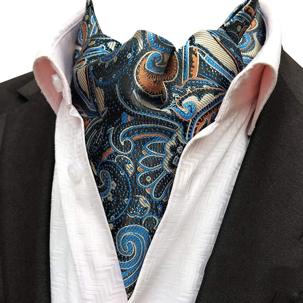 MOHSLEE Men Lake Blue Paisley Ascot Silk Suit Jacquard Woven Banquet Cravat Ties