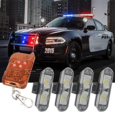 Clidr 4X2 Ambulance Police light 2LED Wireless Remote DC 12V led Warning light Car Truck Light Flashing Firemen Lights (White): Automotive