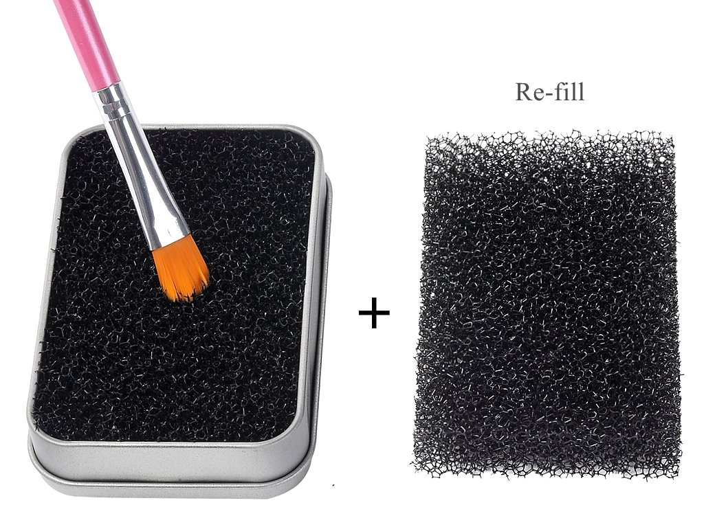 FFLEMON Shadow Brushes Color Removal Sponge, Remove Shadow Blush Color From Brushes, Easily Switch to next Color,1 More Sponge for Re-fill,Makeup Brush Cleaner Kit,Brush Quickly Cleaner,Compact Size