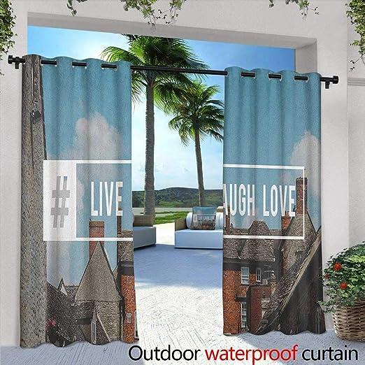 Live Laugh Love Cortina de Puerta corredera Estilo Memphis inspiraciones náuticas con Ancla Dibujada a Mano y Lindas Cortinas con Ojales para recámara: Amazon.es: Jardín