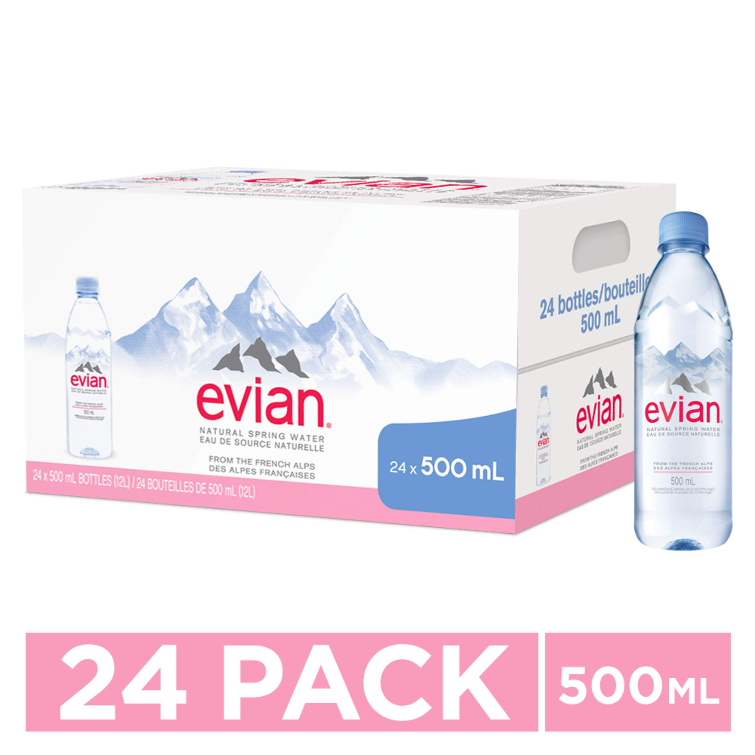 evian Natural Spring Water Bottles, Naturally Filtered Spring Water in Individual-Sized Plastic Bottles, 16.9 Fl Oz (Pack of 24) by evian