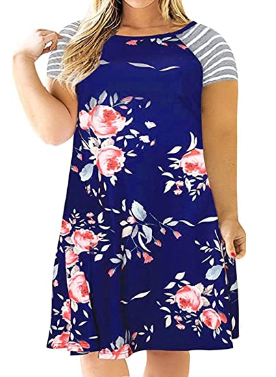 eecc7a4af4e3 Image Unavailable. Image not available for. Color: Kancystore Womens Floral  Print Casual Short Sleeve T-Shirt Dress Knee Length Blue XL