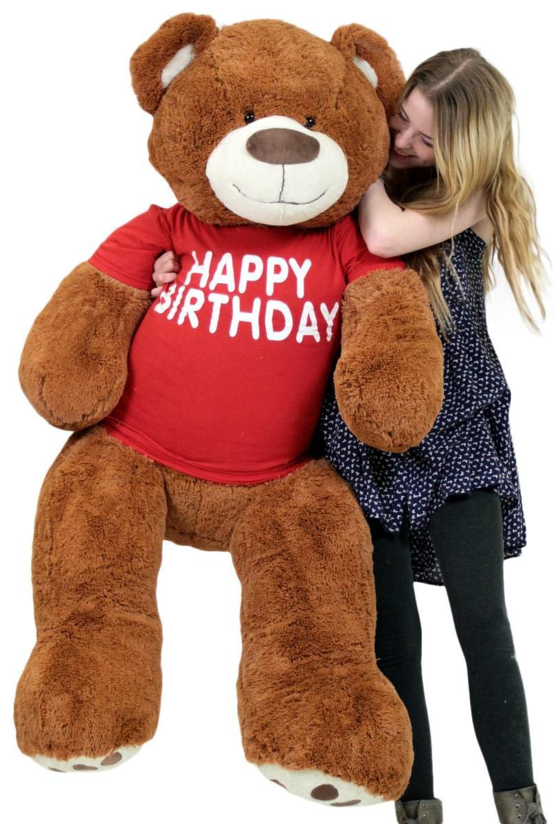 Amazon.com: Big Plush Happy Birthday Giant Teddy Bear Five Feet Tall  Cinnamon Color Wears T Shirt That Says HAPPY BIRTHDAY: Toys U0026 Games