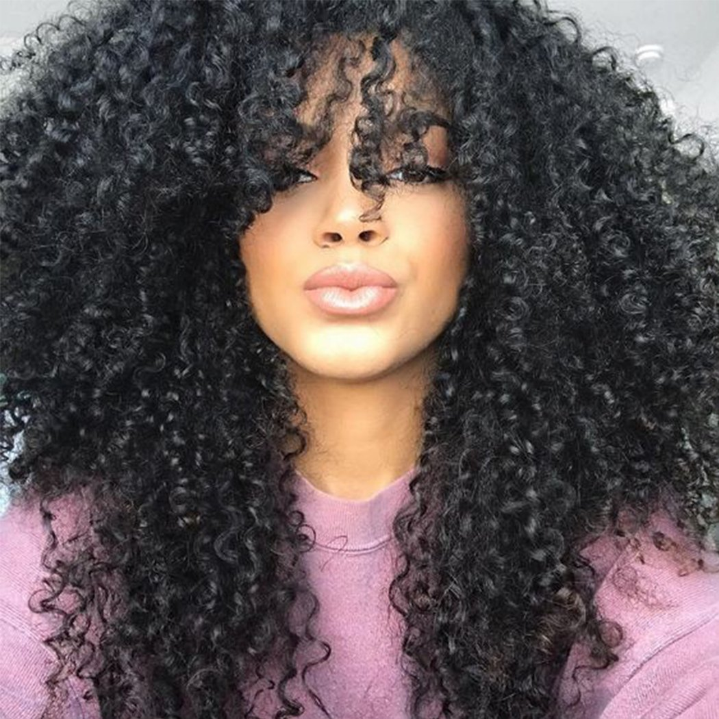 BLUPLE Afro Kinky Curly Lace Front Wigs Natural Black Synthetic Hair Heat Resistant Fiber Hair Half Hand Tied Wig for African American With Baby Hair (24 inches, Afro Kinky Curly,#1B)