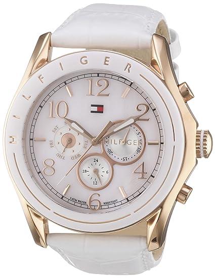 Tommy Hilfiger 1781051 - Reloj de mujer de cuarzo, correa de piel, color blanco: Tommy Hilfiger: Amazon.es: Relojes