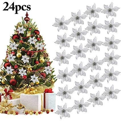 Immagini Natale Glitter.Ornamento Di Albero Di Natale Outgeek 24pcs Glitter Fiore Artificiale Fiori Di Albero Di Natale Ornamento Di Decorazione Fiore Falso Di Natale